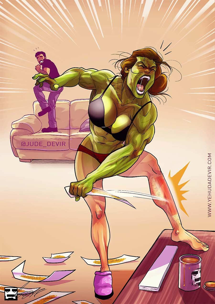 Eine Beziehung in Comic-Motiven Yehuda-Adi-Devir_08