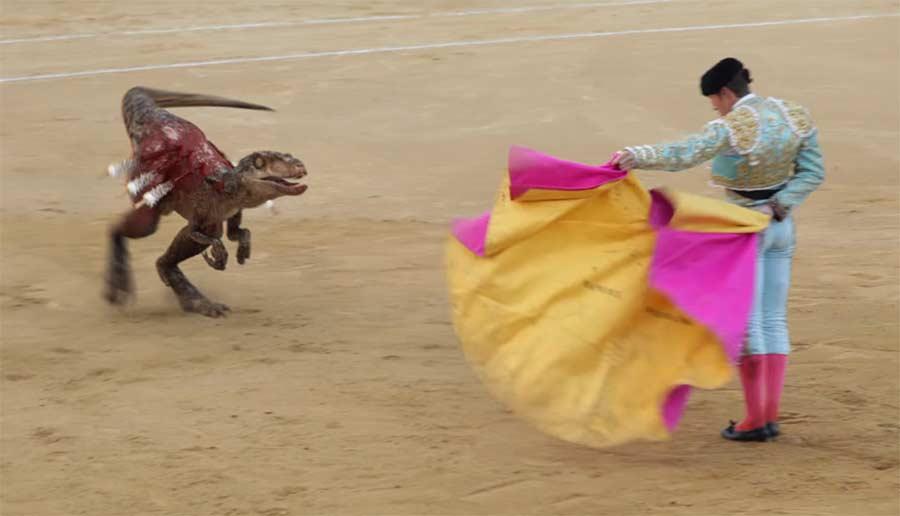 Stierkämpfe mit Velociraptor bullfighting-velociraptor