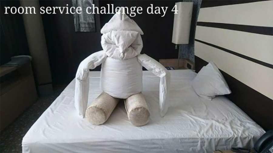 Kreative Bettmonster-Überraschungen eines Hotelgastes hotel-guest-surprise-maid_07