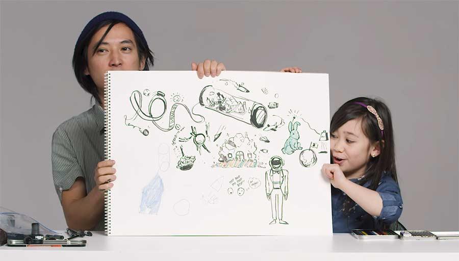 Kinder beschreiben Illustrator die Zukunft