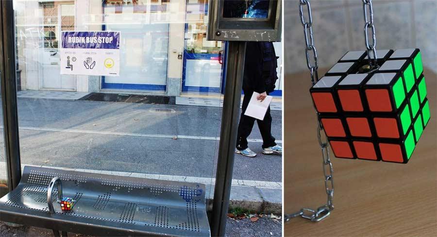 Bushaltestelle mit Rubik's Cube rubik-bus-stop_01