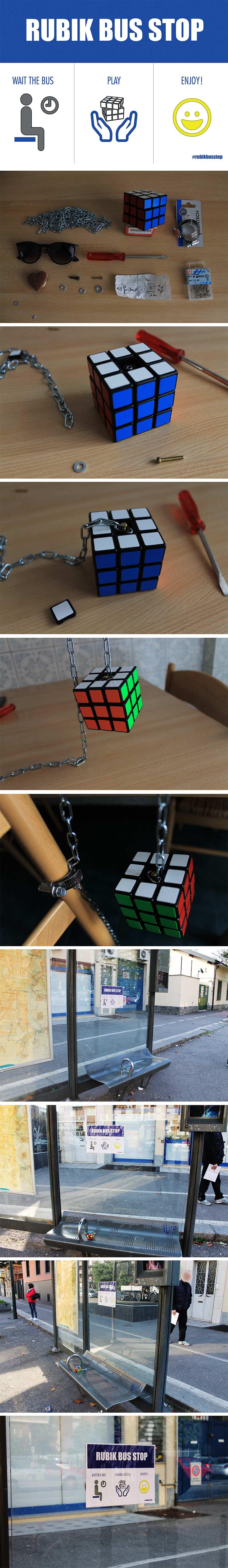 Bushaltestelle mit Rubik's Cube rubik-bus-stop_02