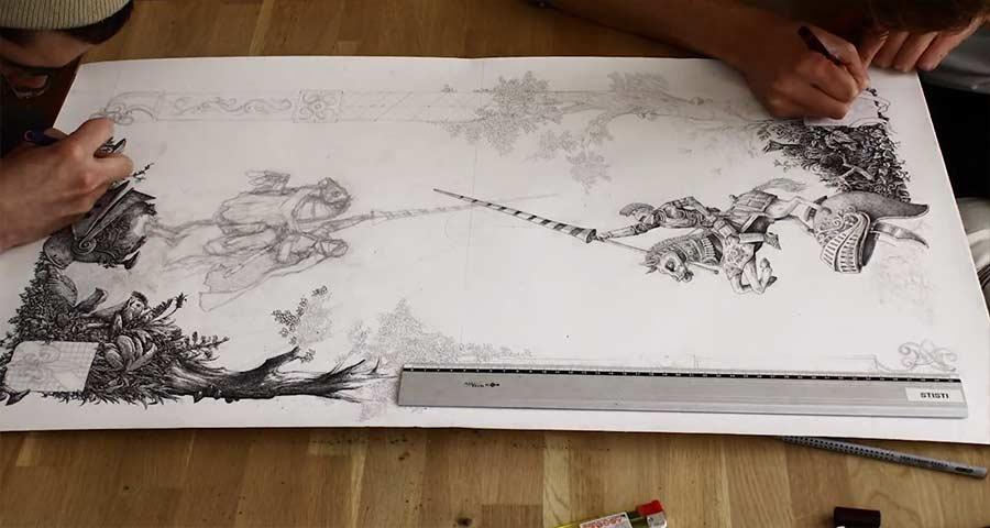 Timelapse: Zwei Mann, eine Illustration steev-and-jan-malen-zu-zweit