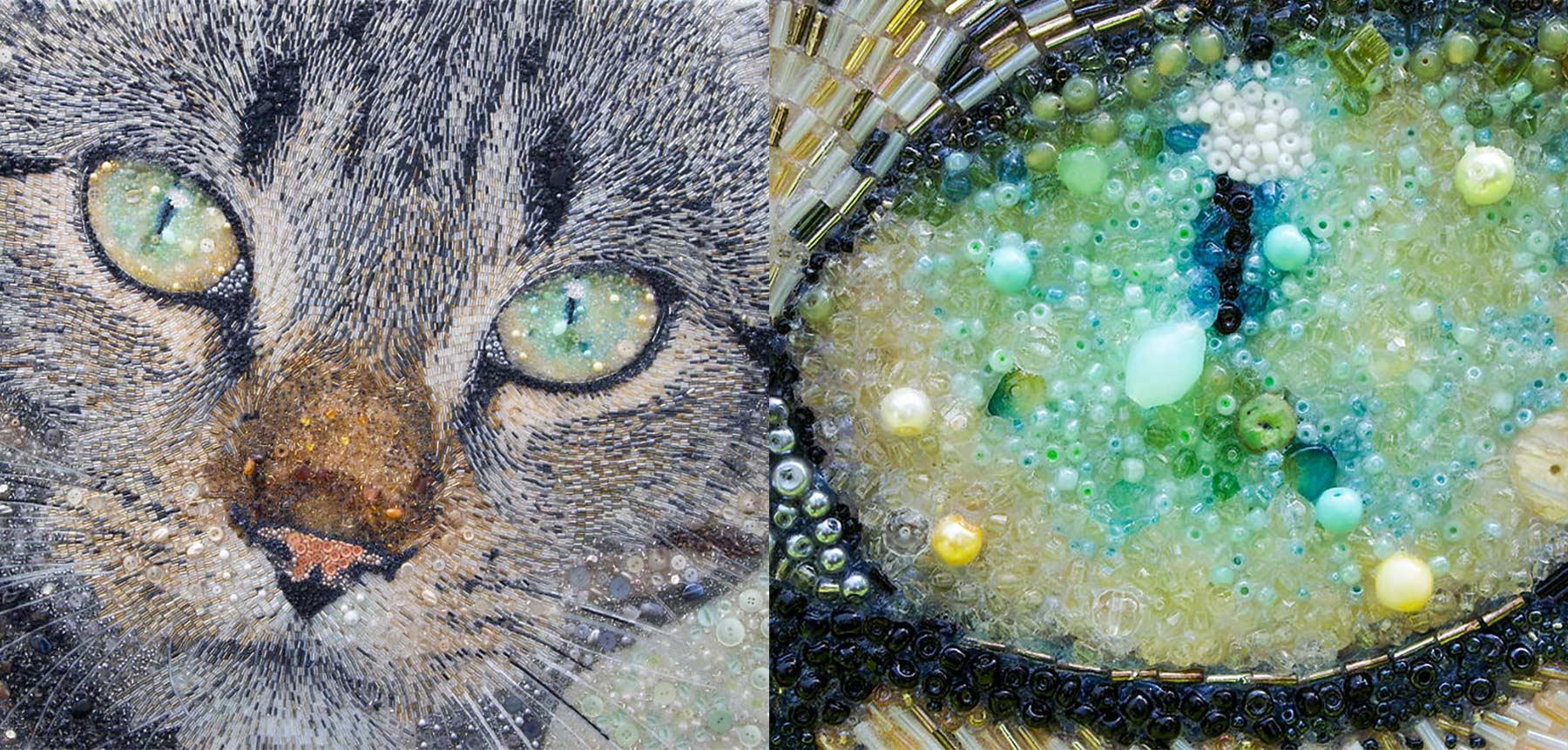 Tierportraits aus Knöpfen und Perlen