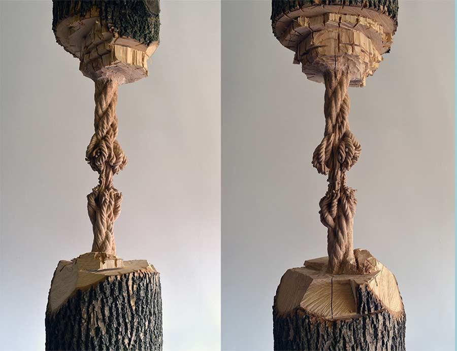 Dieser Baumstamm hängt am hölzernen Faden