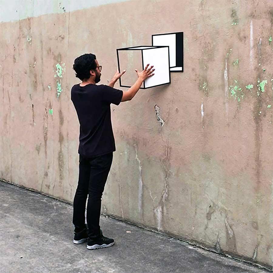 Perspektivische Tape Art von Aakash Nihalani Aakash-Nihalani-3D-tape-art_03