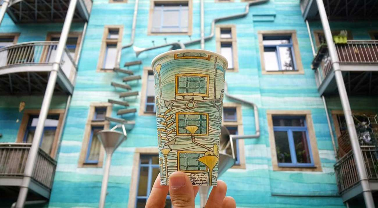 Reise-Erinnerungen auf Kaffeebechern festgehalten Berk-Armagan-becherreisen_03