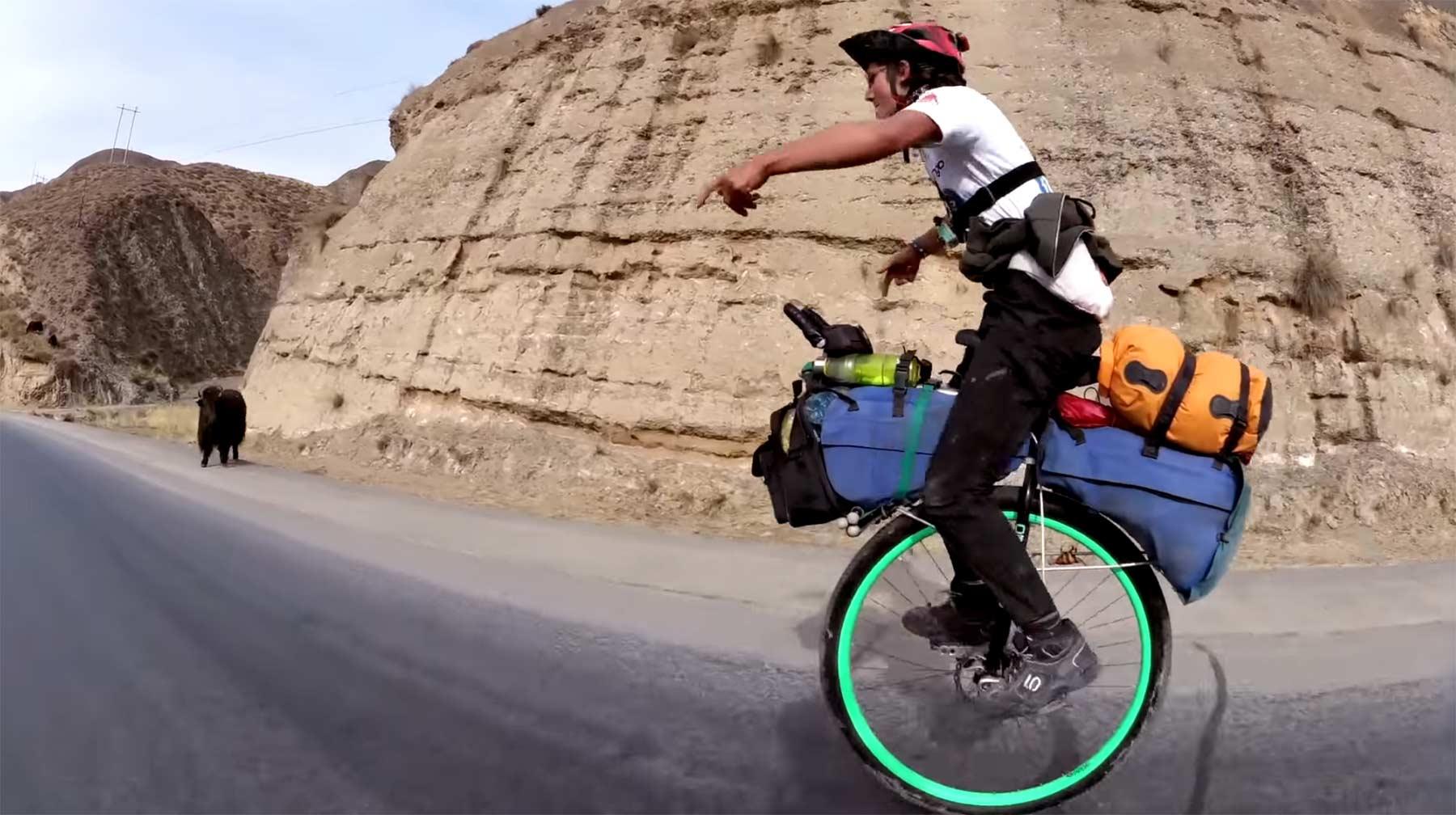 Ed Pratt fuhr auf dem Einrad 5.400km durch China