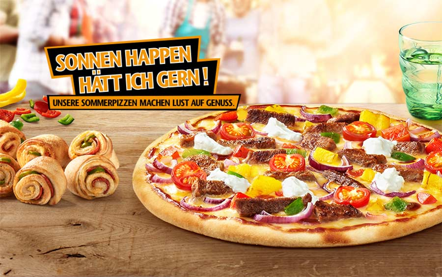 Pizza-Party im Park Hallo-Pizza-Sonnen-Happen-Sommerpizzen