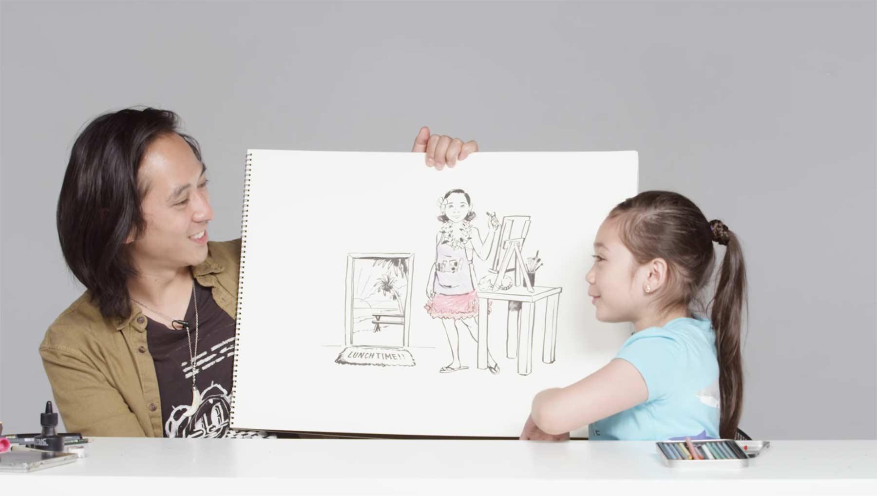 Kinder beschreiben Illustrator ihre Traumjobs