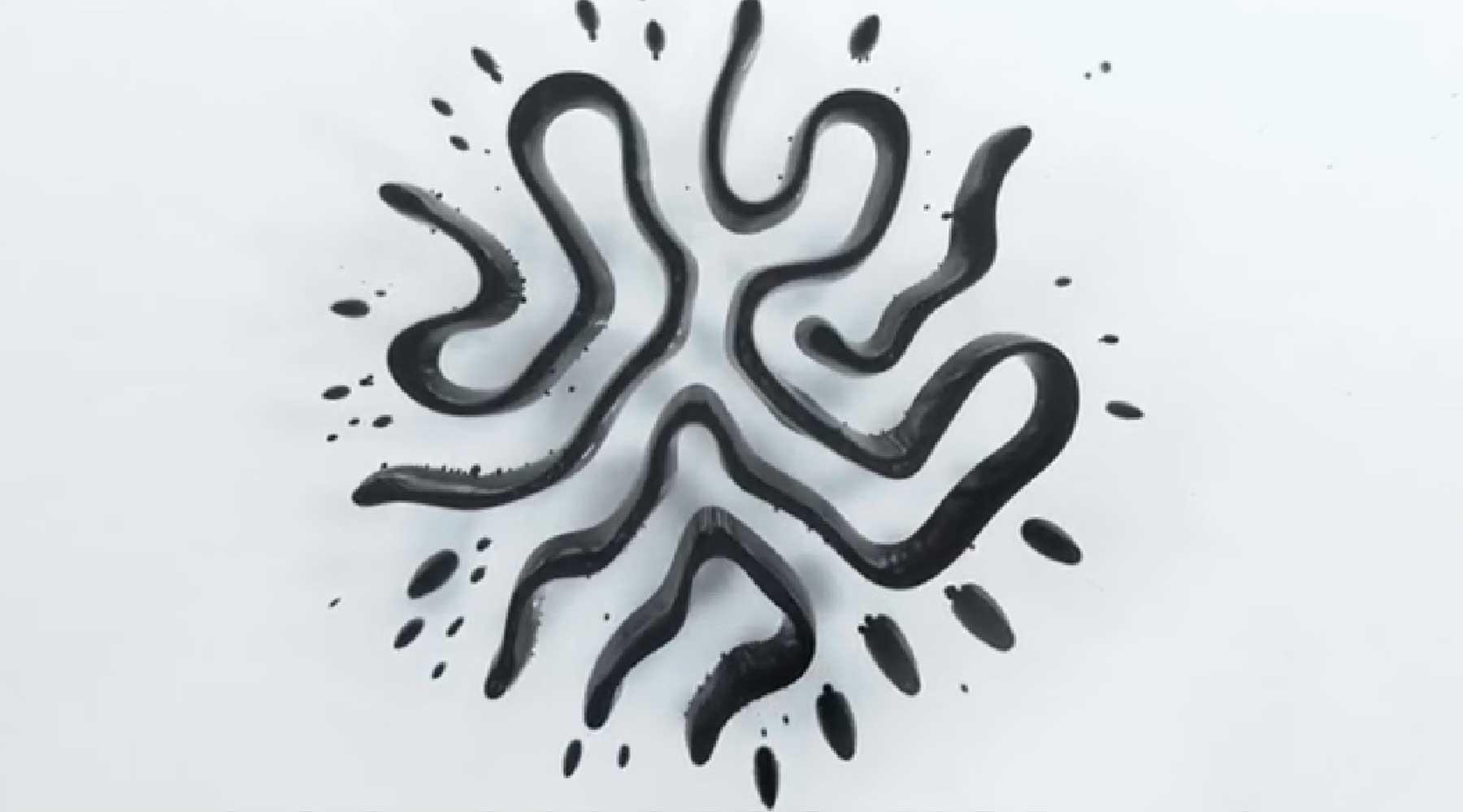 Schöne Muster mit flüssigem Eisenstaub