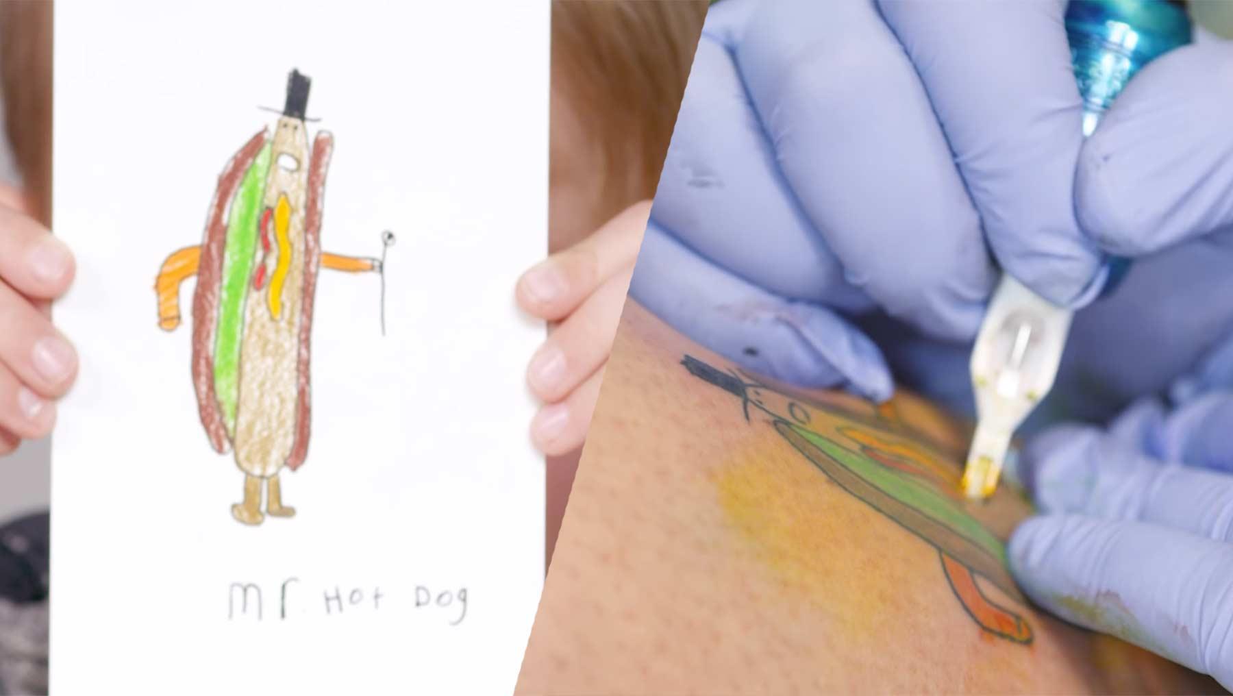 Kinder dürfen Tattoos ihrer Eltern malen kinder-malen-tatoos