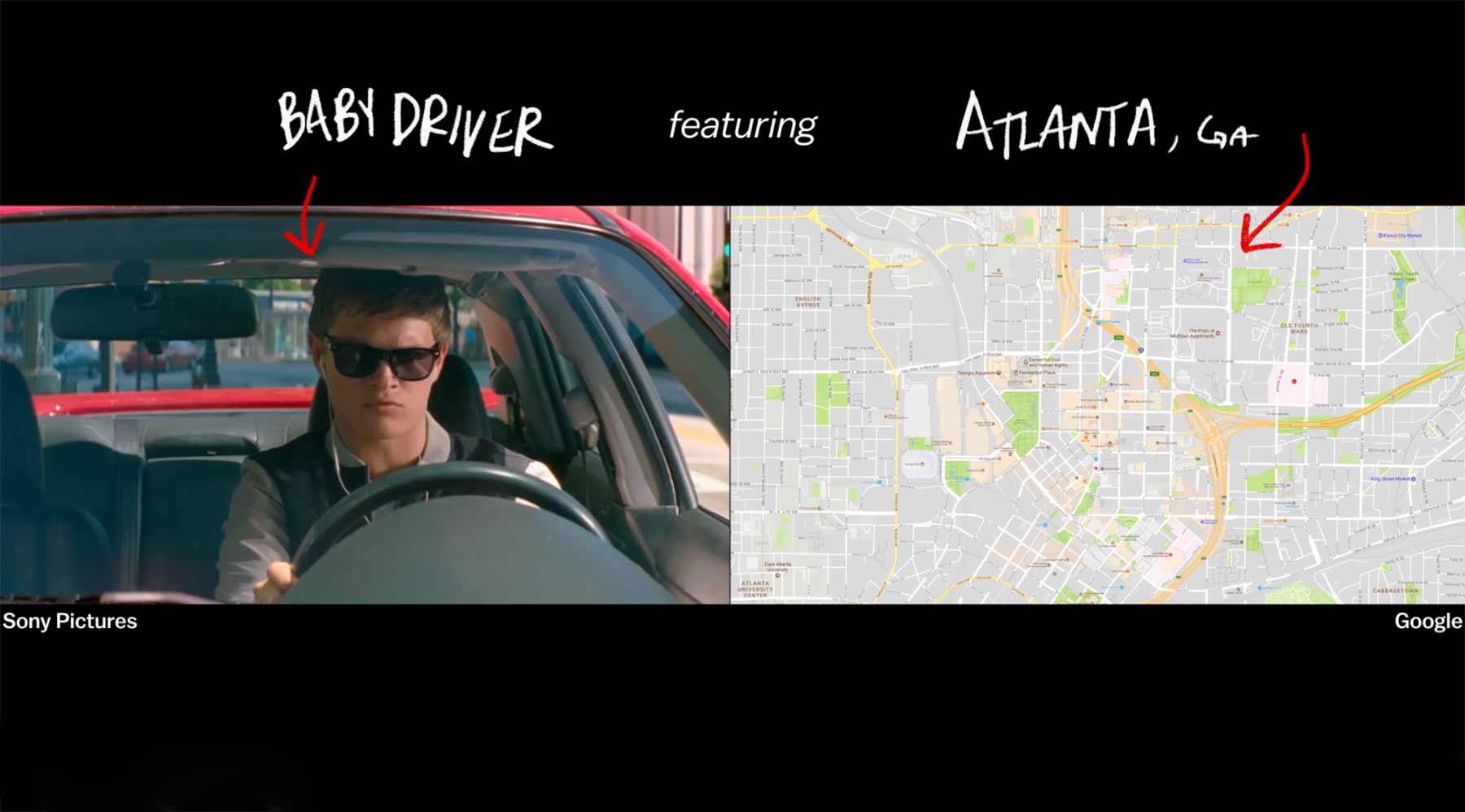 """Eröffnungsfahrt aus """"Baby Driver"""" kartografiert"""