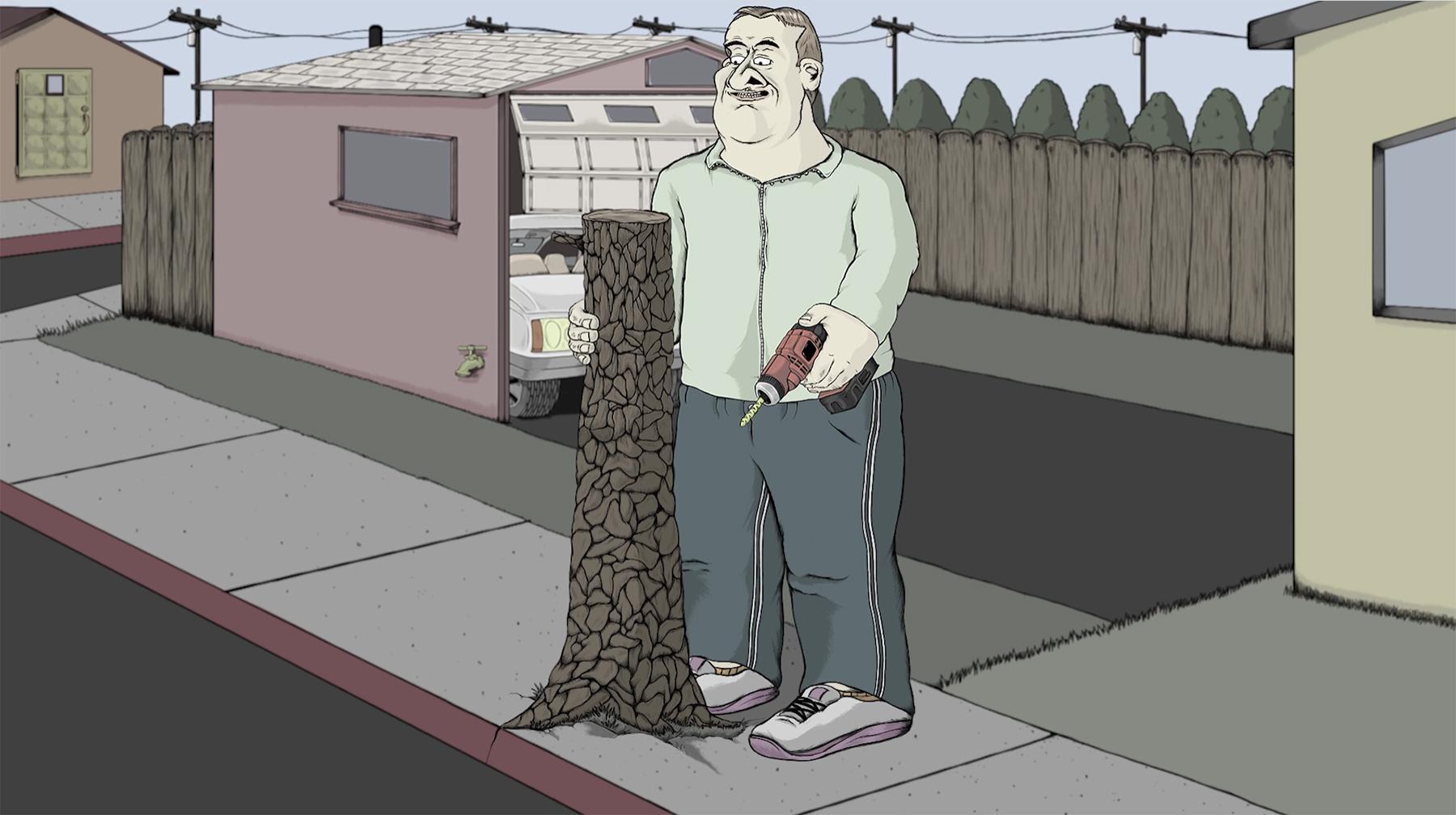 Baumstumpf, Blase und bohrende Moral
