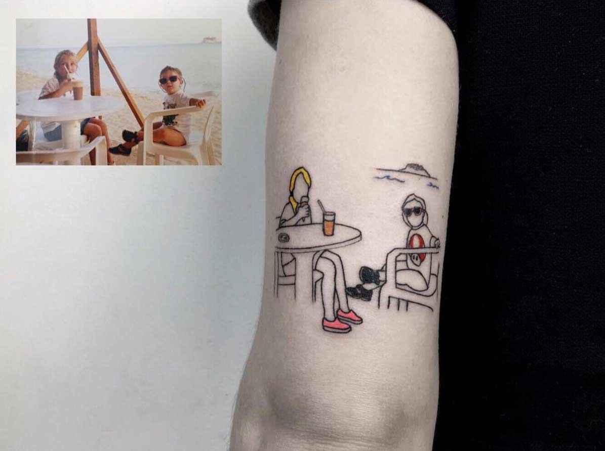 Kindheitsfotos als minimalistische Tattoos Alican-Gorgu-Retro-Minimal-Tattoos_07