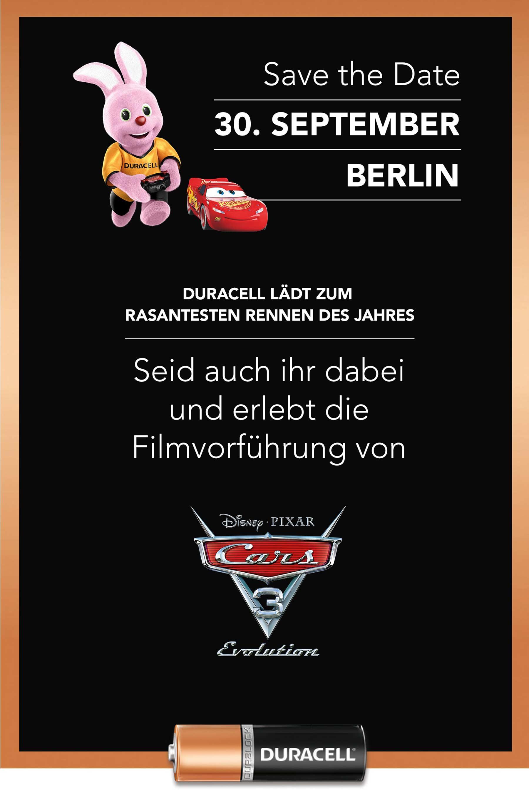 """Blitzverlosung: Gewinnt Plätze für das exklusive """"Cars 3""""-Event von Duracell Duracell-Cars3_Screening_02"""