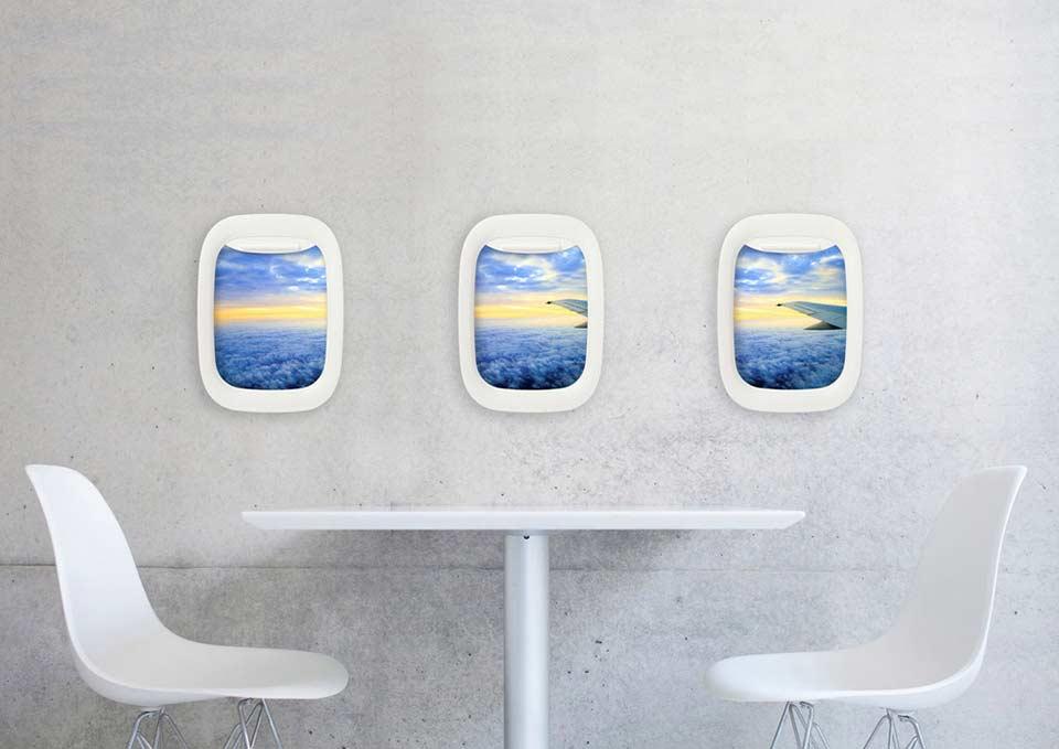 Flugzeugfensterbilderrahmen