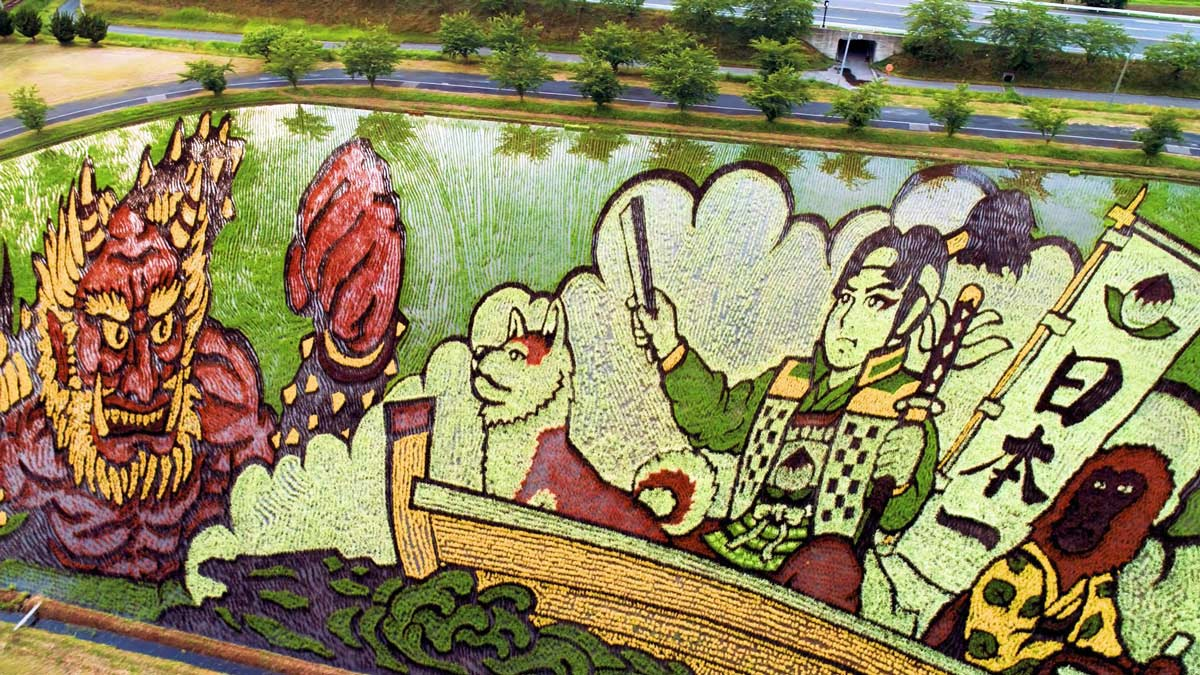 Perspektivmalerei mit einem Reisfeld