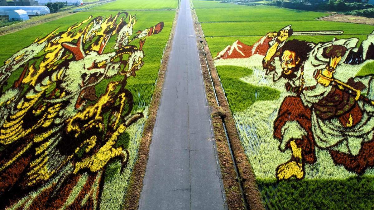 Perspektivmalerei mit einem Reisfeld Reisfeldkunst_02