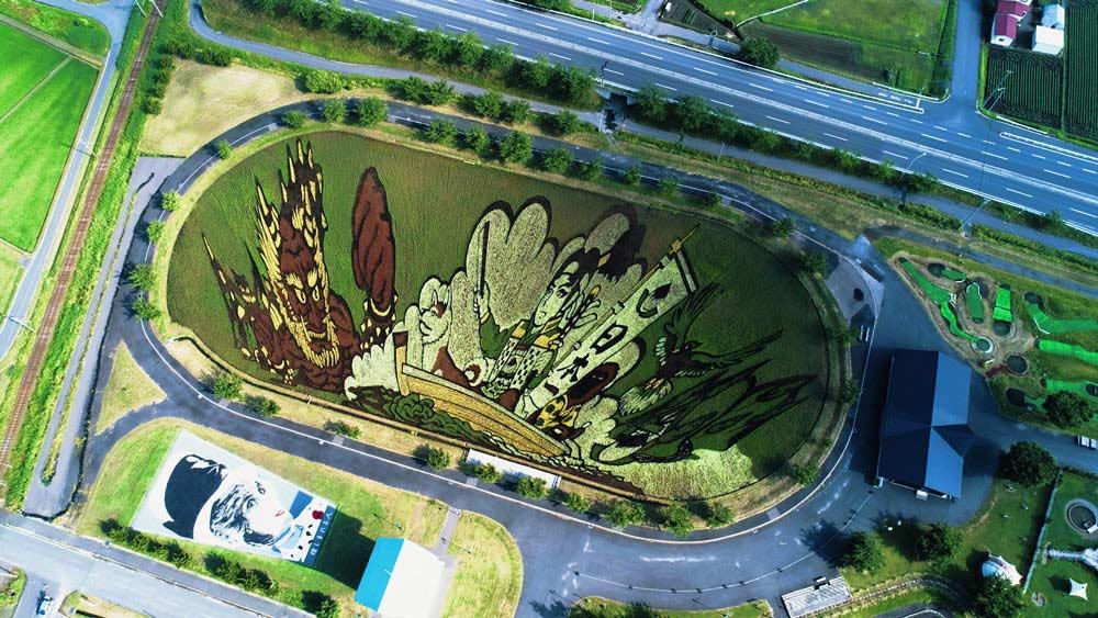 Perspektivmalerei mit einem Reisfeld Reisfeldkunst_03