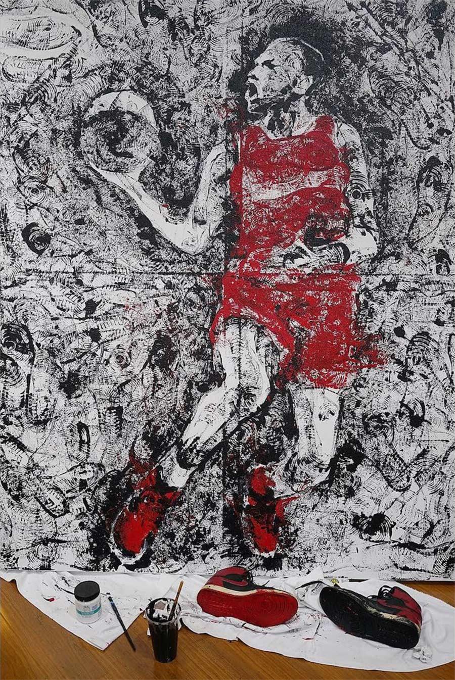 Michael Jordan mit einem Paar AIR JORDAN 1-Sneaker gemalt jordan-sneakers-portrait_02