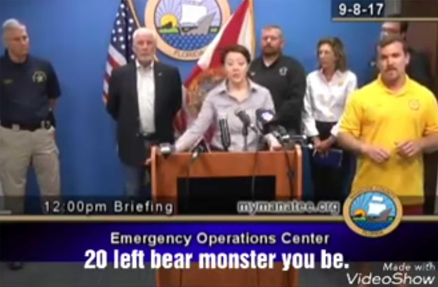 Wenn auf die Schnelle kein richtiger Gebärdendolmetscher verfügbar ist zeichensprache-fail-hurricane