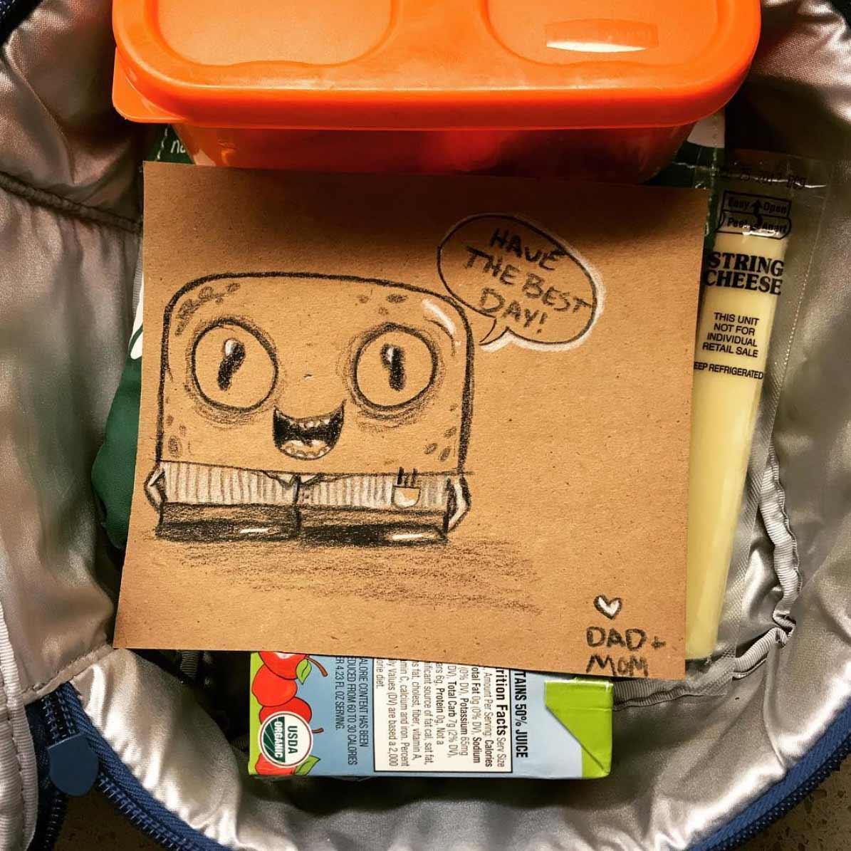 Vater malt seiner Tochter jeden Tag ein Bildchen für die Lunchbox Andre-Guerra_10