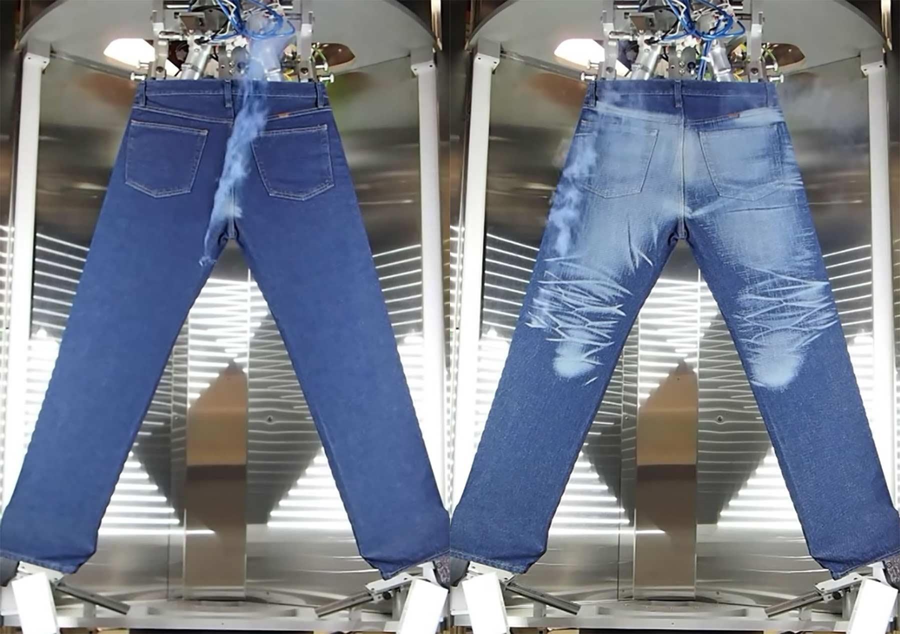 So zaubert ein Laser den Used-Look auf eine neue Jeans