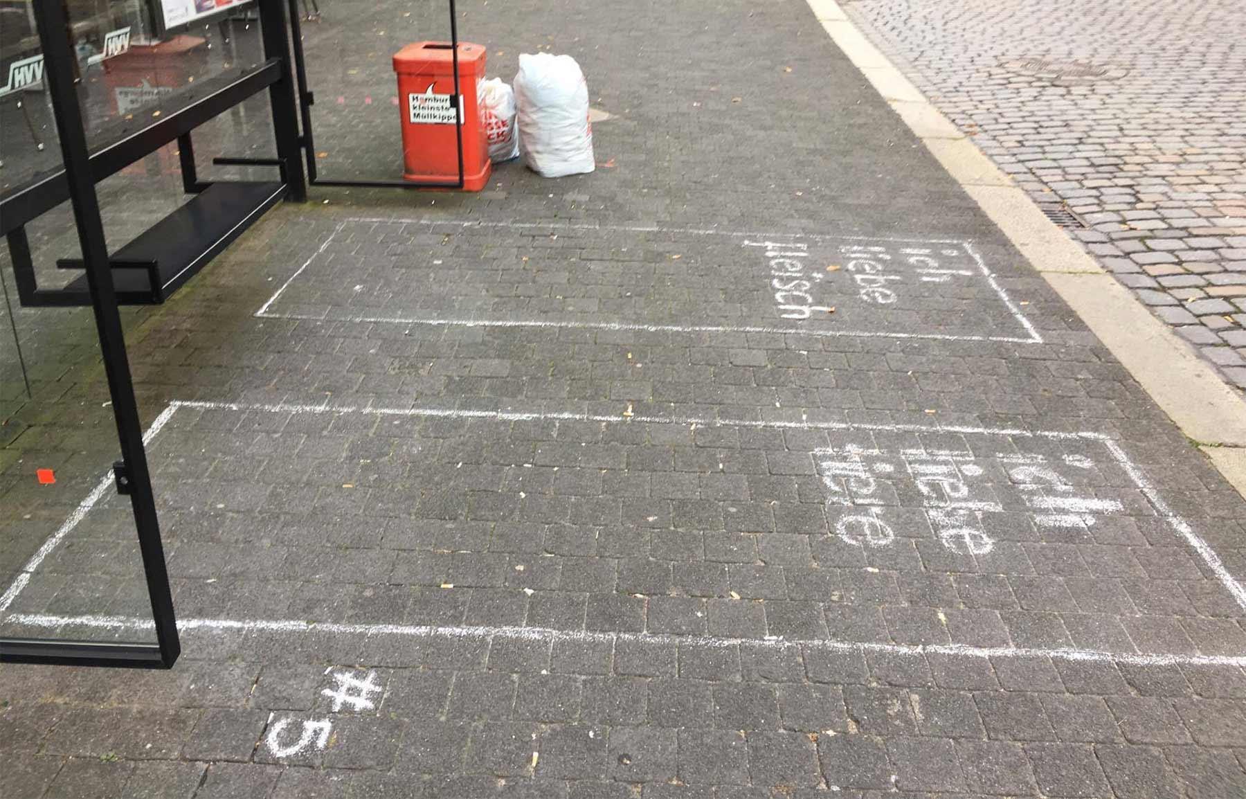 Statement-Wartebereiche an Bushaltestellen