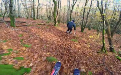Auf Skiern durch den Herbstwald rasen