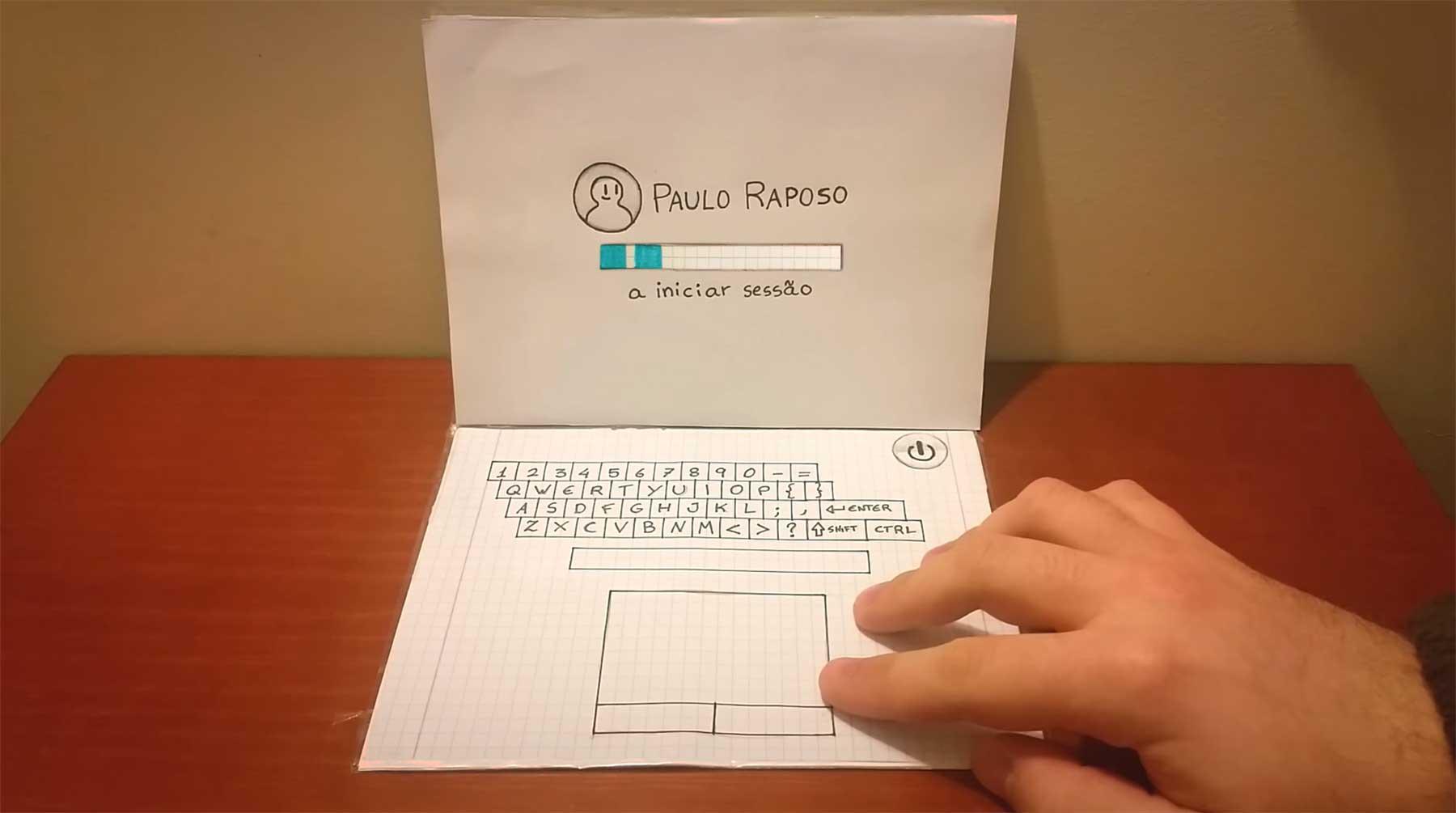 Animierter Papier-Laptop laptop-aus-papier