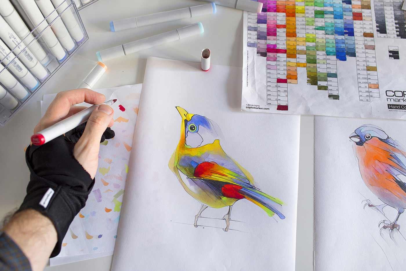 Filzer-Vögel textmarker-voegel_Alexis-Marcou_09