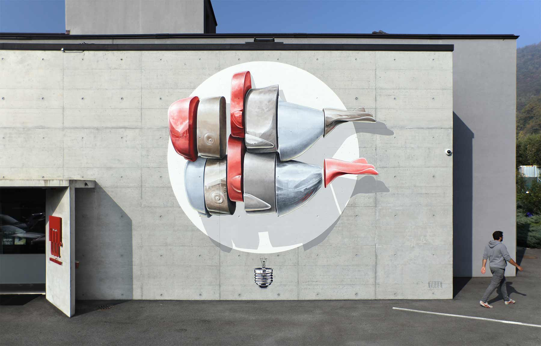 Timelapse: Mural-Malen mit der Nevercrew Nevercrew-disposing-machine