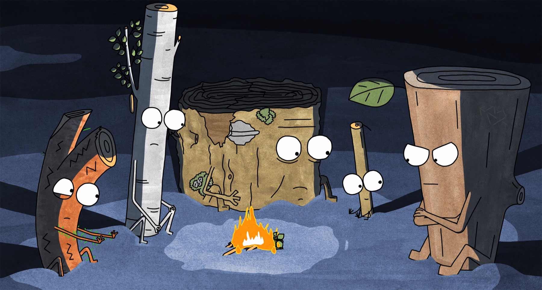 Lebendiges Brennholz sitzt ums Lagerfeuer animated-short-timber