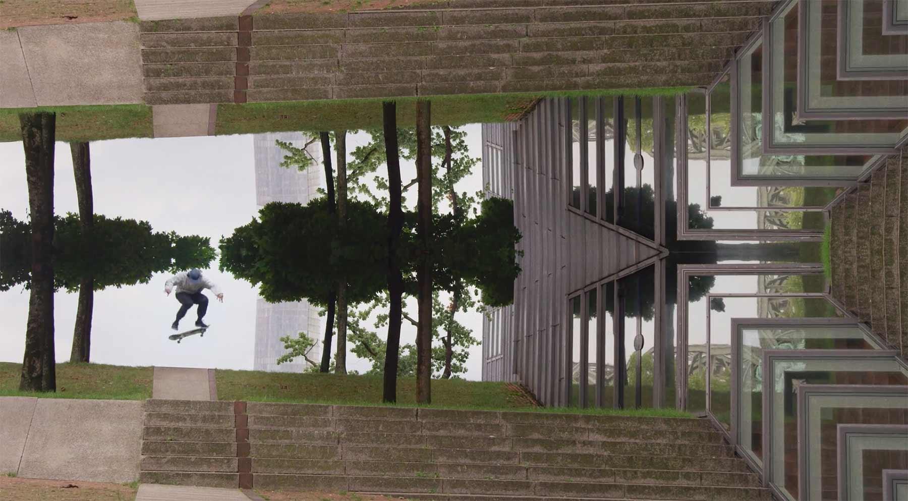 Skateboarding mit Spiegelungseffekt