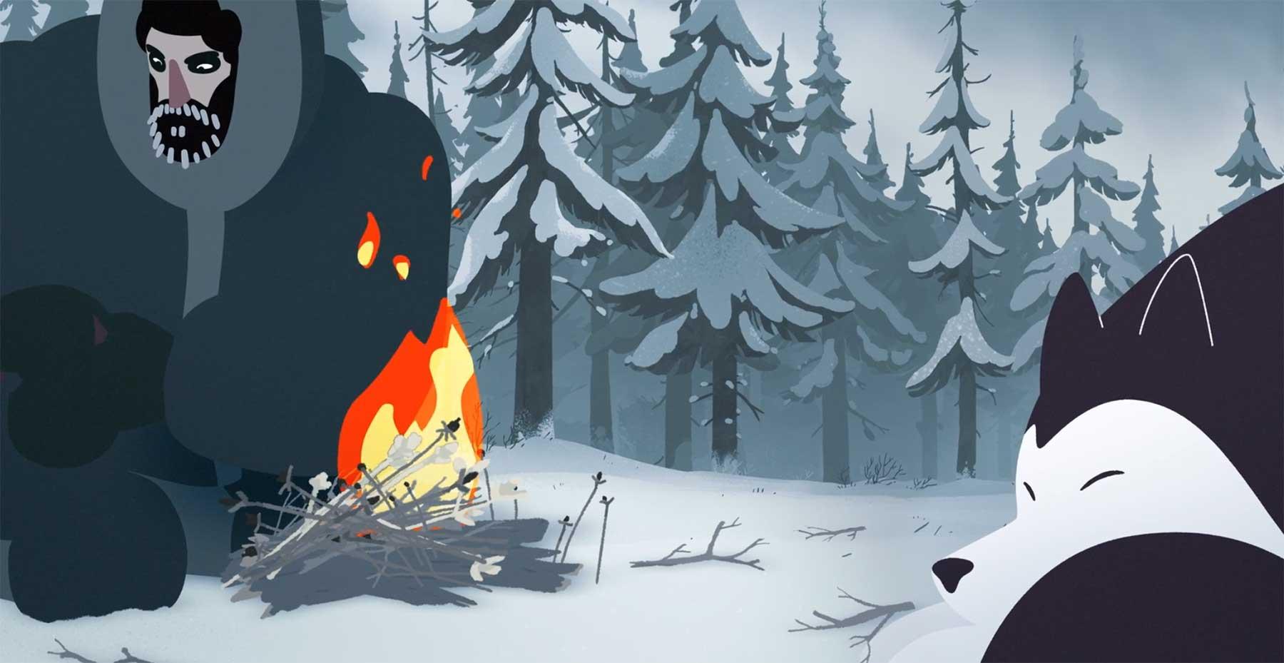 Nur ein Lagerfeuer gegen die erbarmungslose Kälte to-build-a-fire