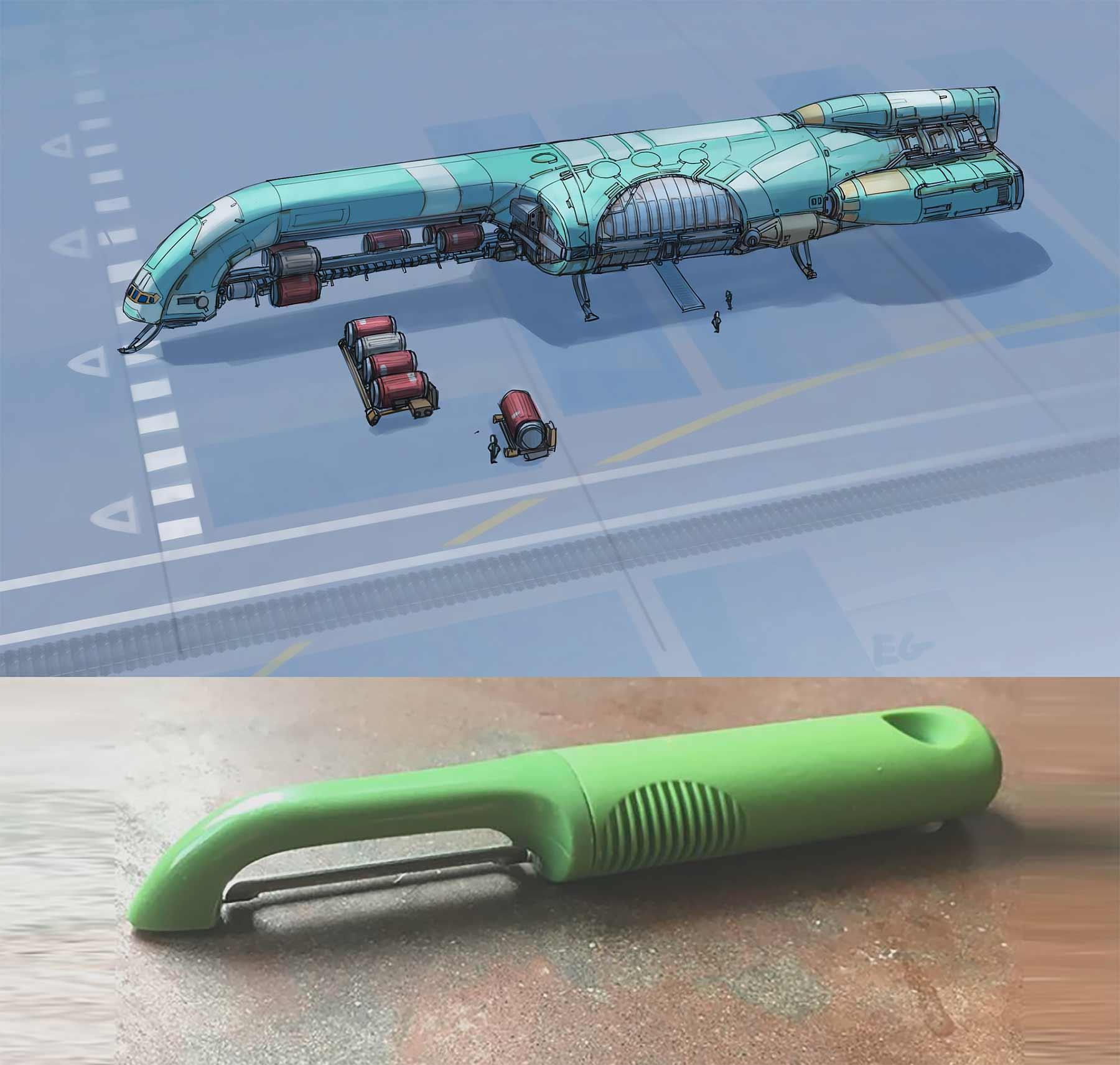 Aus langweiligen Alltagsgegenständen werden futuristische Raumschiffe Eric-Geusz_04