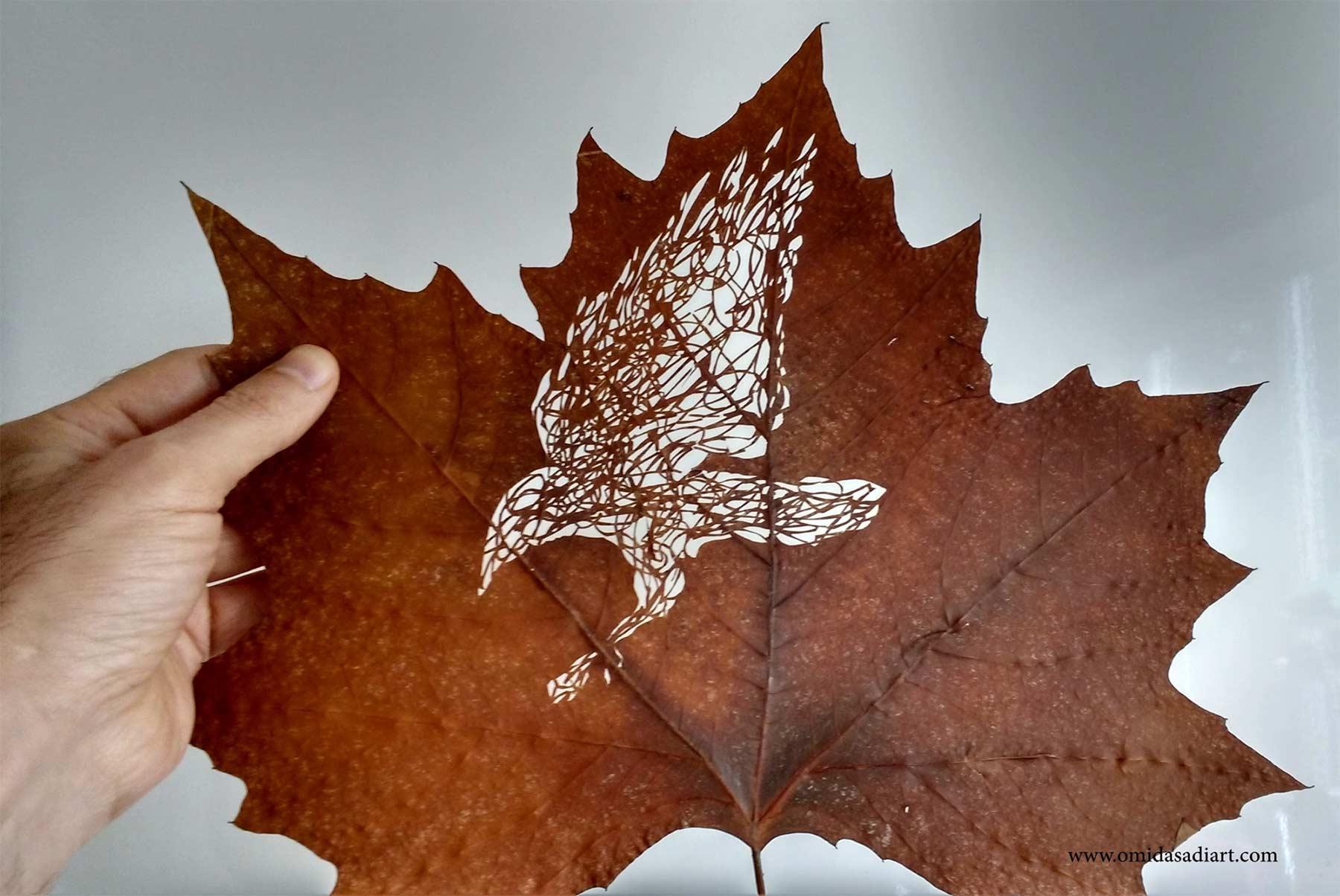 Kunstvoll geschnittene Laubblätter Omid-Asadi-leaf-art_04