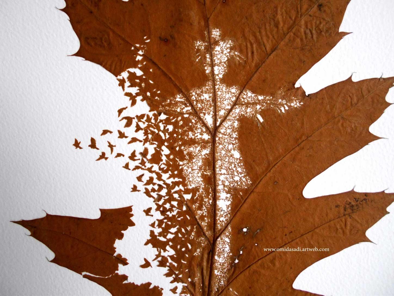 Kunstvoll geschnittene Laubblätter Omid-Asadi-leaf-art_07