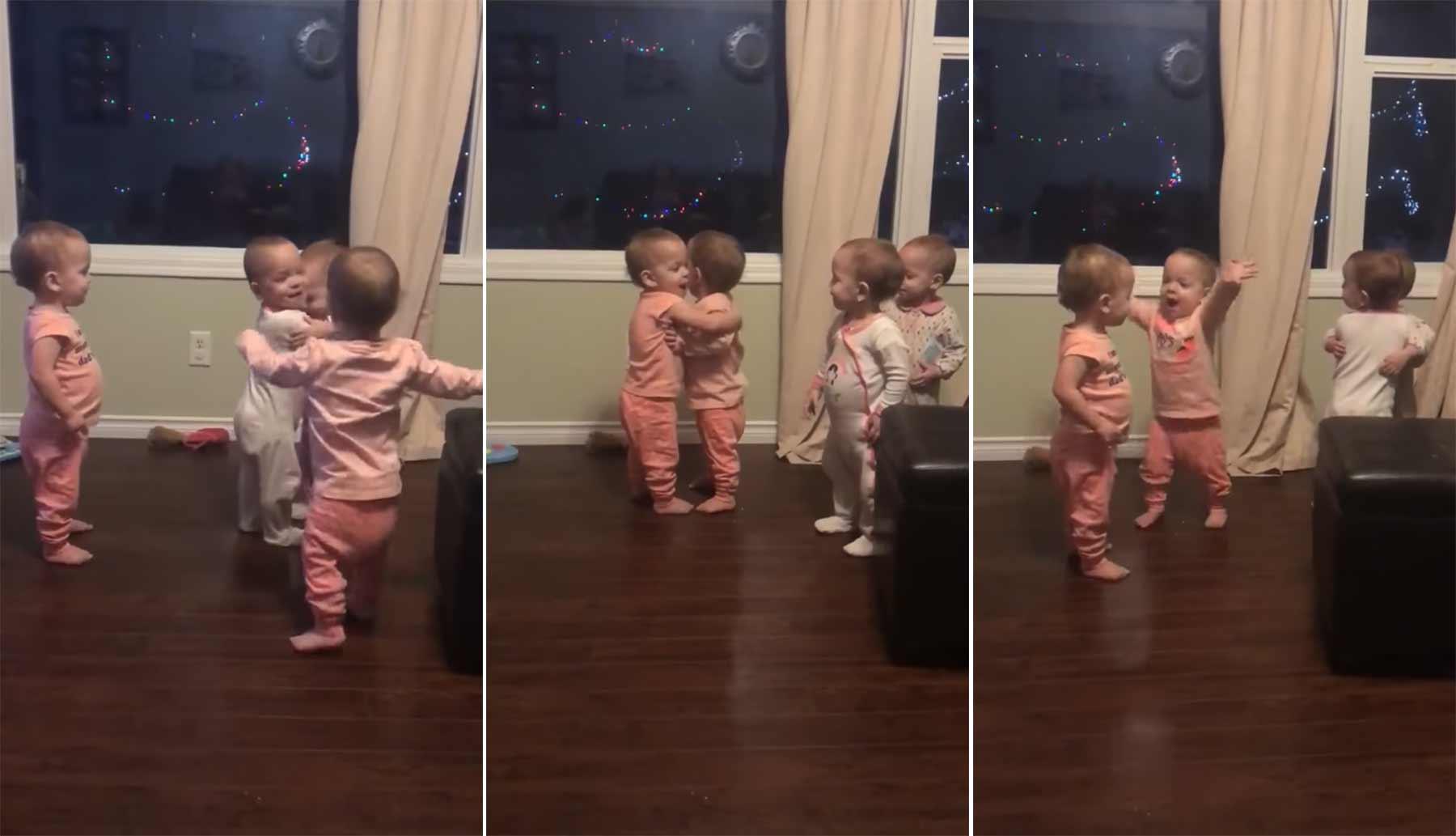 Einfach nur vier Babies, die nicht aufhören können, sich zu umarmen