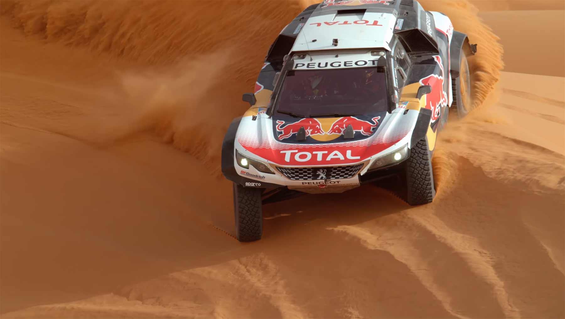 In Superzeitlupe durch den Wüstensand rasen desert-ballet-rallye-Peugeot-3008