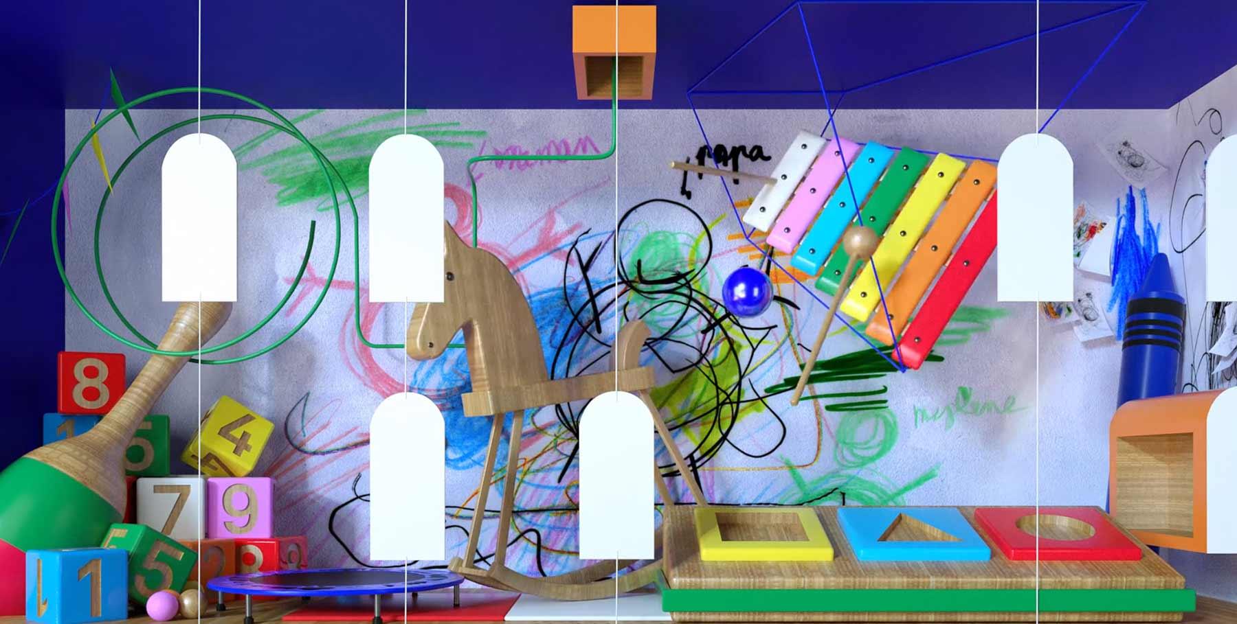 Durch die Räume eines Lebens animiert living-rooms