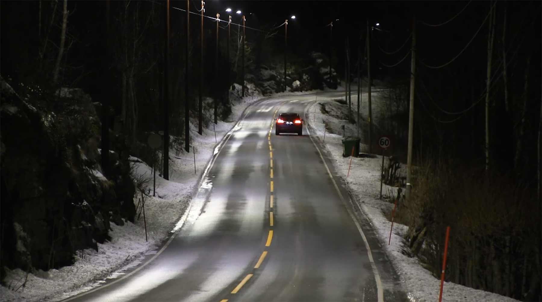 In Norwegen haben Straßenlaternen Bewegungsmelder