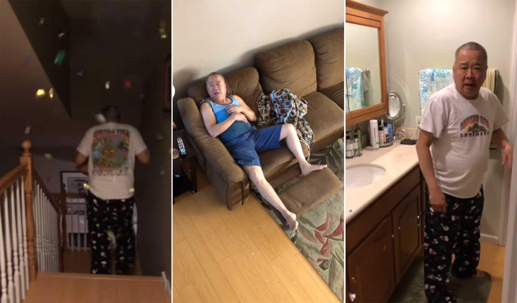 Vater 2 Wochen lang mit einer Konfetti-Kanone erschrecken vater-mit-konfettikanone-erschrecken