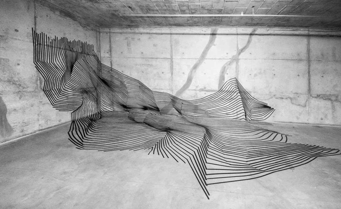 Klebestreifenkunst von Darel Carey Darel-Carey-Tape-art_02