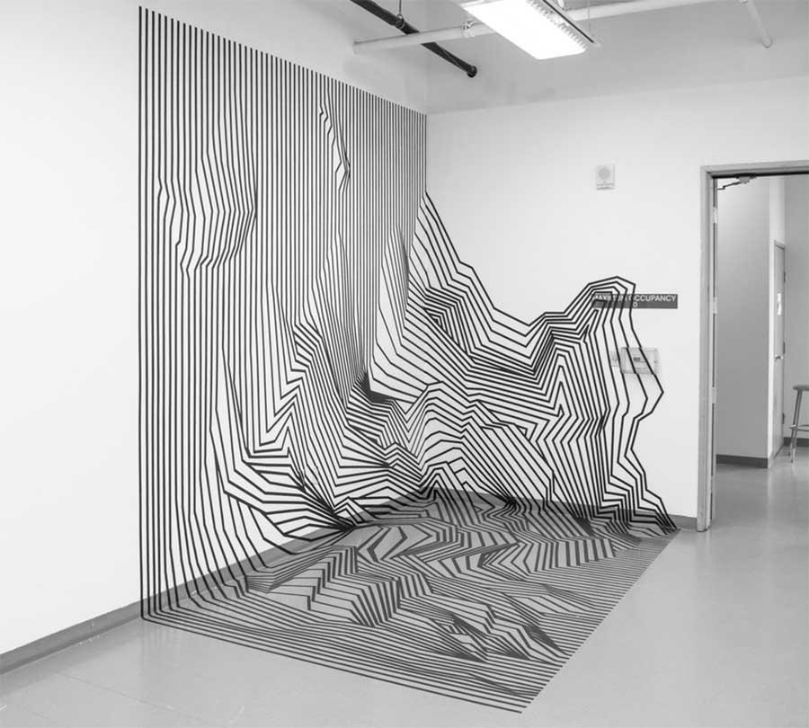 Klebestreifenkunst von Darel Carey Darel-Carey-Tape-art_03