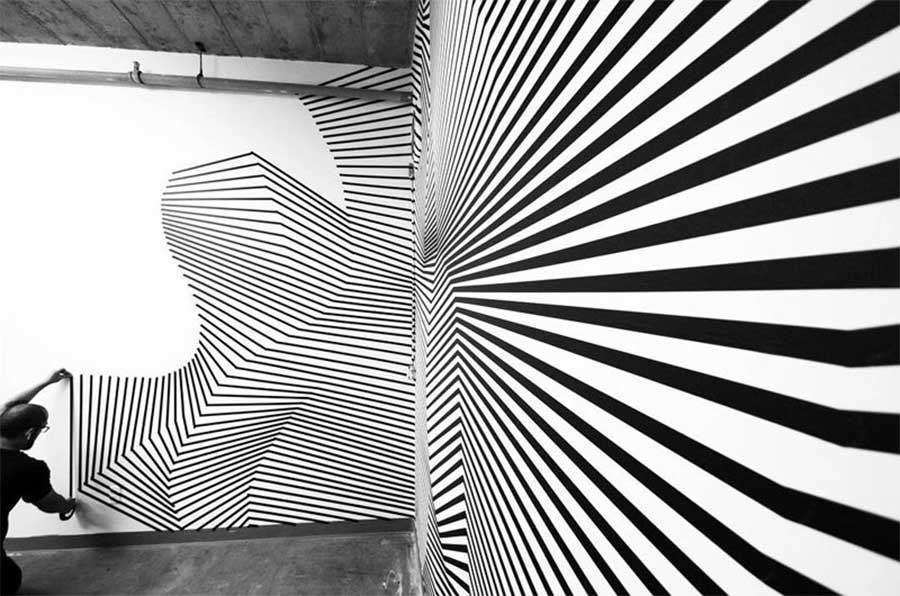 Klebestreifenkunst von Darel Carey Darel-Carey-Tape-art_04