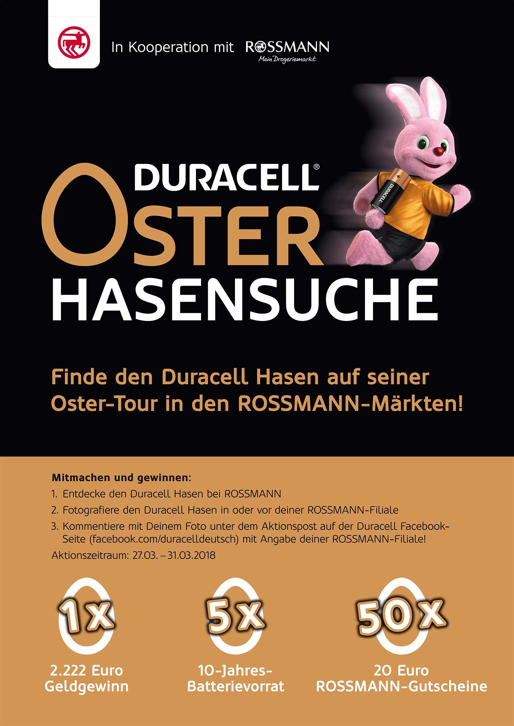 Finde den Duracell Hasen bei ROSSMANN und gewinne 2.222 Euro Duracell-Rossmann_Hasensuche_01
