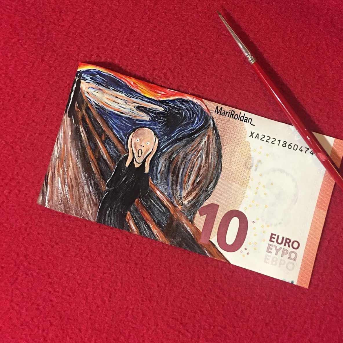 Gemälde auf Geldscheinen Mari-Roldan_01