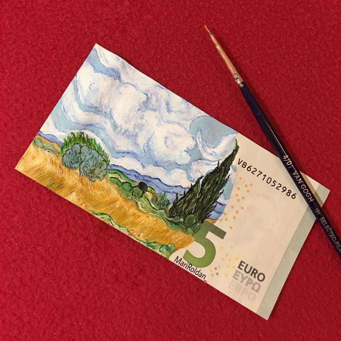 Gemälde auf Geldscheinen Mari-Roldan_05